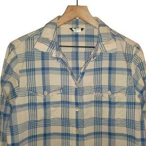 Jcrew Mens Plaid Button Front Shirt Blue White M